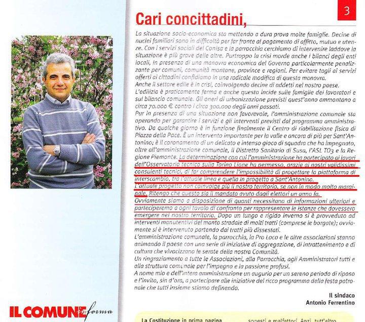 Articolo Ferrentino su giornale Il Comune di Sant'Antonino