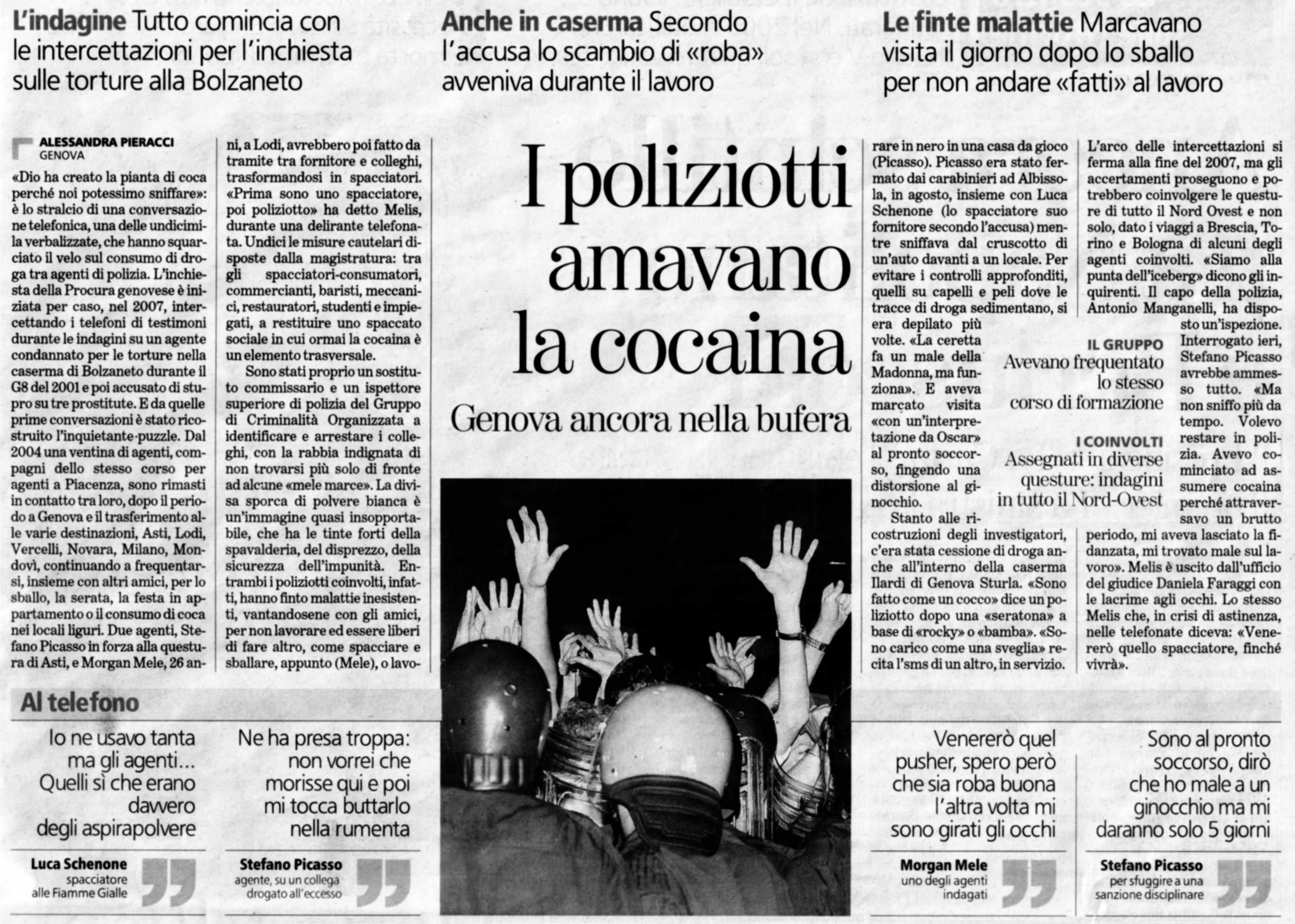 I Poliziotti amavano la Cocaina - La Stampa 14-feb-09a