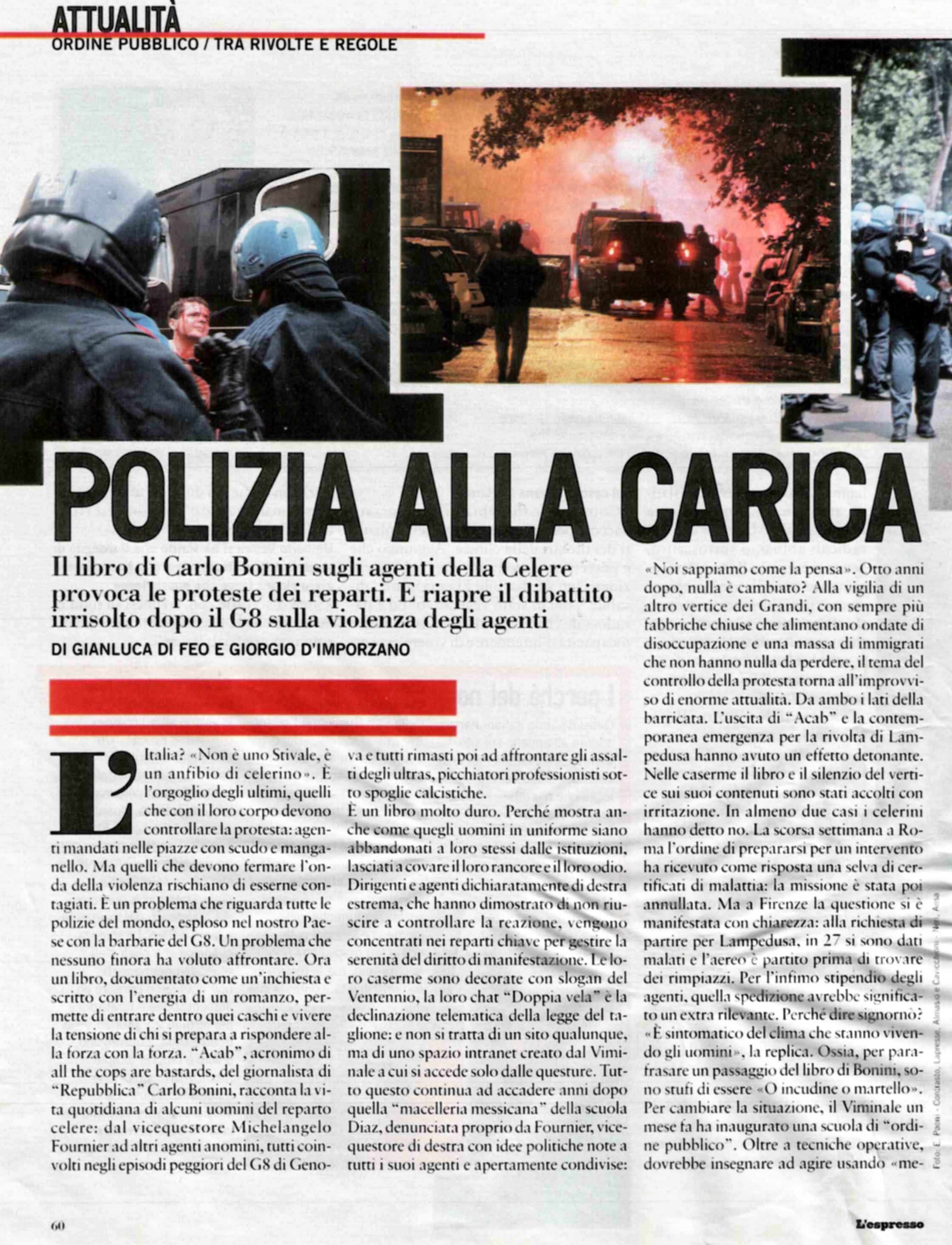 Polizia alla Carica - L'Espresso 05-feb-09